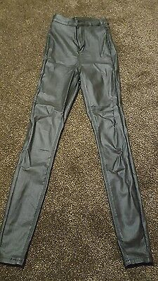 super skinny high waist wet look trousers size 6