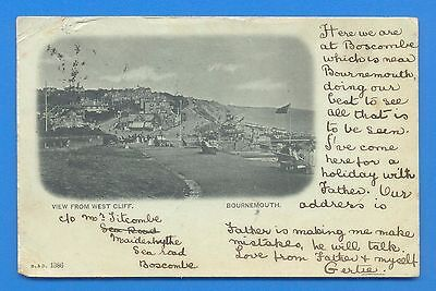 View From West Cliff,bournemouth.postcard Posted With Queen Victoria Stamp 1901
