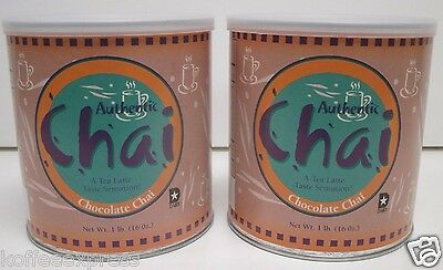 CHAI TEA LATTE CHOCOLATE POWDER MIX 2 CANS 1LB ea  AUTHENTIC