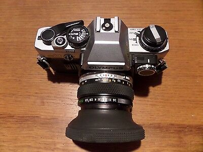 Olympus OM10 35mm SLR Film Camera with 50mm lens plus other camera accessories