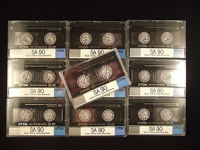 10 x TDK SA 90 TYPE II HIGH POSITION Cassette Tapes   In Excellent condition