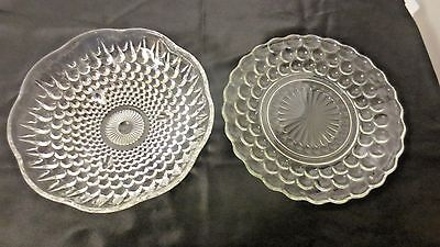 """Lot 2 Older Anchor Hocking Bubble patterns 3-Toed Bowl and 6 3/4"""" Clear Plate"""