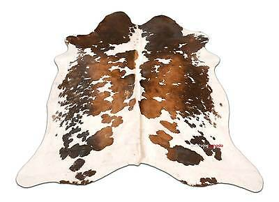 A-47 Tricolor Cowhide Rug 6 X 5.5 ft Brown and White Cow Hide Rug