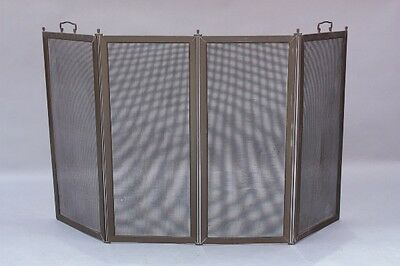 1910 Brass 4 Panel Antique Fire Screen Fits Arts & Crafts Spanish Revival (9262)