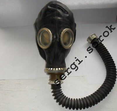 RUSSIAN RUBBER GAS MASK RESPIRATOR GP-5 with HOSE, BAG Black Military new only