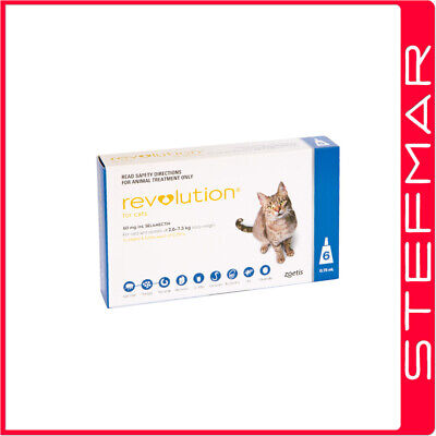 2 x Revolution for Cats 2.6-7.5kg Blue 6 Pack EXP 03/19 -Free Tracking