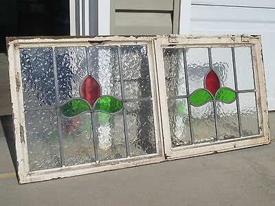 "Vintage Leaded Stained Glass Window 39 1/2"" Craftsman Transom & Vent Window"