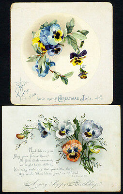 2 VICTORIAN Christmas and Birthday Cards 1890 - PANSIES - Pansy Flowers