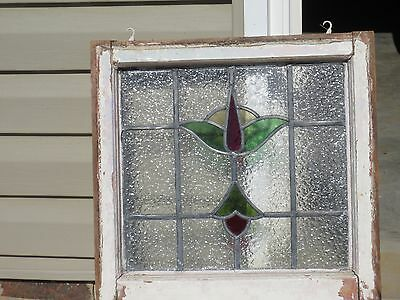 """Vintage Leaded Stained Glass Craftsman Widow 20"""" x 20"""" x 1 1/2"""""""