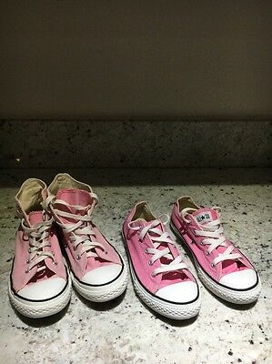 Two Pairs Of Pink Converse All Stars Girls  Size 2