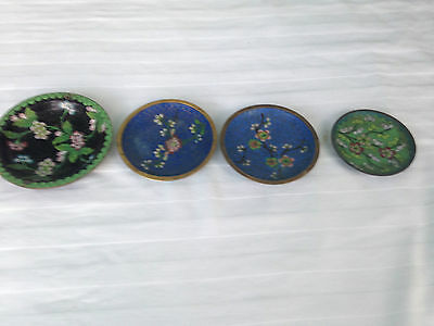 4 Round VINTAGE CHINESE ENAMEL CLOISONNE SMALL DISH/PLATE (marked China)