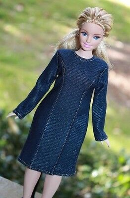 Clothes for Curvy Barbie Doll. Denim Knitted Dress for Dolls.