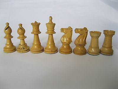 Antique Vintage Large Boxwood Chess Pieces Jaques Staunton? Heavy Lead weighted
