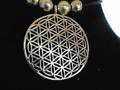 .925 silver plate Silver Flower of Life Pendant~Reki~Sacred Geometry necklace,