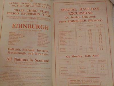 April 1928 Lner Scottish Edinburgh Spring Holiday Railway Timetable Excursions