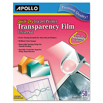 Apollo APOCG7031S Transparency Film For Inkjet Devices, Clear, 50/box