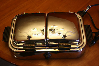 Vintage Dominion Model No. 1361 Chrome & Bakelite Twin Waffle Maker Mansfield OH