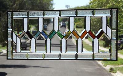 """•RISE OF THE COLOR'S •Beveled Stained Glass Window Panel • HUGE 40 ½""""-15 ½"""""""