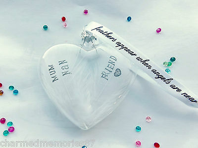 White Double Feather Memory Heart Bauble Personalised Glass Hanging Ornament Gif