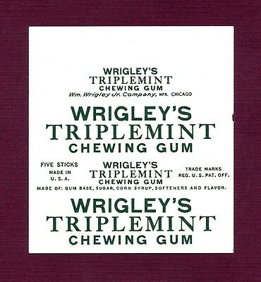 """Extremly Rare - Wrigley's """"Triplemint"""" Chewing Gum Wrapper"""