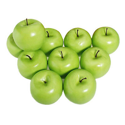 12pcs Decorative Large Artificial Green Apple Plastic Home Party AD