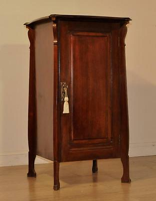 Attractive Large Antique Art Nouveau Mahogany Bedside Side Cabinet Cupboard