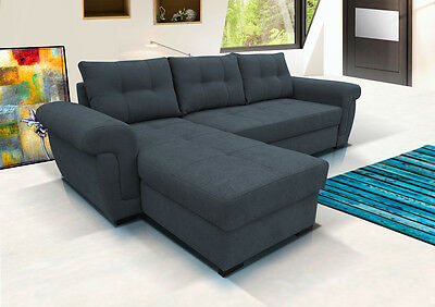 ** Amber **  Corner Sofa Bed In Grey Fabric. Storage. .modern Style