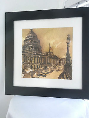 Framed Impressionist Drawing Picture of the U.S. Captiol