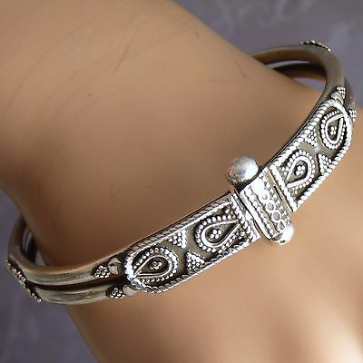 Size S/M/L ~ 2-Strand Traditional Granulated Pin-Lock Bangle ~ Sterling Silver
