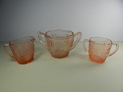 Pink Depression Glass Jeanette Cherry Blossom Sugar Bowls and Creamer set.