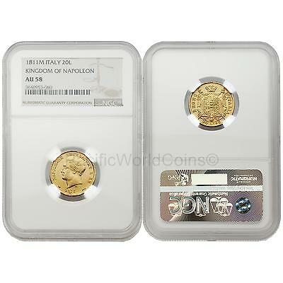 Italy 1811M Kingdom of Napoleon 20 Lire Gold NGC AU58