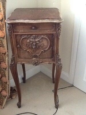 French Walnut Marble Top Bedside Cupboard.