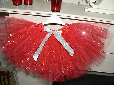 Beautifil Red tutu skirt with holographic stars 6-9 months