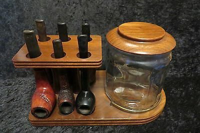 Lot of 6 Vintage Smoking Pipes w/ Display Stand & Glass Humidor, KBB, WDC +++