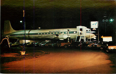 PAN AMERICAN DC-7 Airplane turned into a STEAKHOUSE ~BYRON GA~ Great Postcard