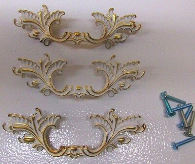"Vintage Set 3 French Provincial Cabinet Drawer Pull Handles N.L. Co. 5 1/4"" #2"