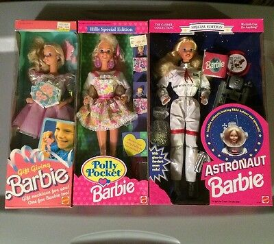 Vintage Barbie Doll Lot Gift Giving Polly Pocket Astronaut 1990s 1980s NIB