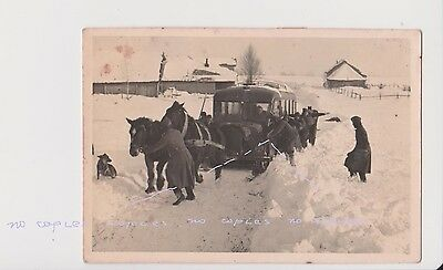 Old Photo of Russia USSR WWII Military Bus Get Stuck in the Snow СССР Война