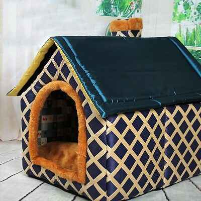 Lovely Pet Rest House Warm Windproof Puppy Bed Kennel Folding Cushion Cat Litter