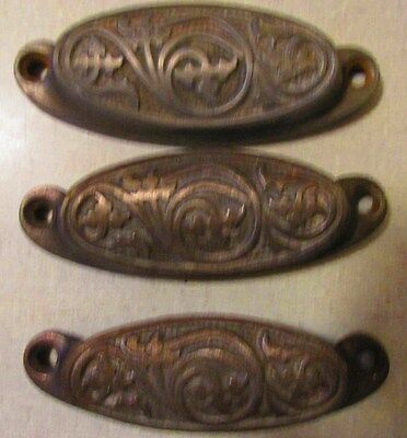 Antique Ornate Set of 3 Victorian Cast Iron Drawer Pulls~1890's Victorian Home