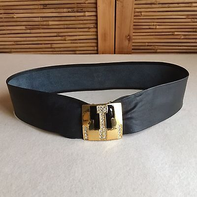 VINTAGE Black LEATHER Gold TONE Enamel RHINESTONE Buckle CINCH Waist BELT 8-12