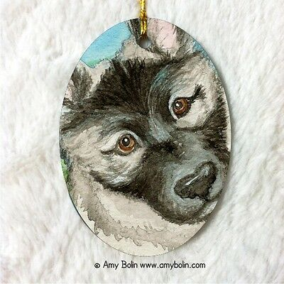 NORWEGIAN ELKHOUND CERAMIC Oval Christ. ORNAMENT by Amy Bolin PUPPY