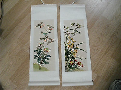 2 Asian Paper Hanging Scrolls Autumn Summer Leaves Bird Chinese Hand Painted