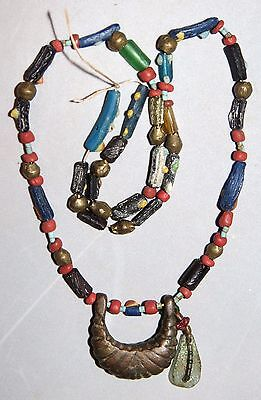 """Ancient Roman Pendant, Beads Glass, Turquoise Necklace 20"""""""