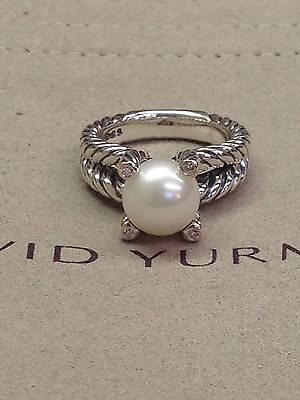 David Yurman Cable Pearl Ring With Diamonds Size 7