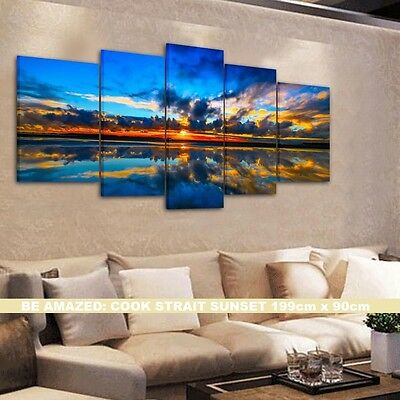 BEAUTIFUL BLUE SUNSET- FRAMED CANVAS PRINTS !!! Modern Exclusive Art SPLIT