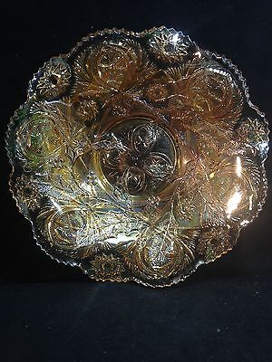 "Millersburg Holly Sprig / Near Cut Pale Marigold 10"" EAPG Bowl Carnival Glass"