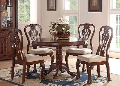 Set of 2 Formal Dining Side Chair Carving Legs Cherry Wood Upholstered Seat NEW