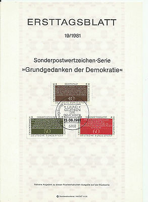 Stamp 1981 Germany 3V principles of democracy Special Post Brochure Sheet