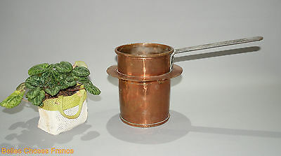 Vintage french copper watering can or water pot w/ wrought iron handle